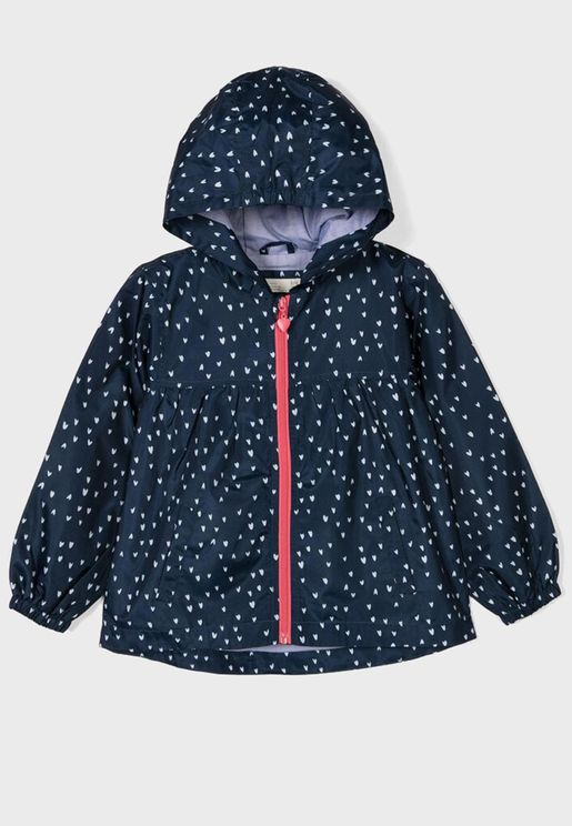 Kids Heart Print Hooded Jacket