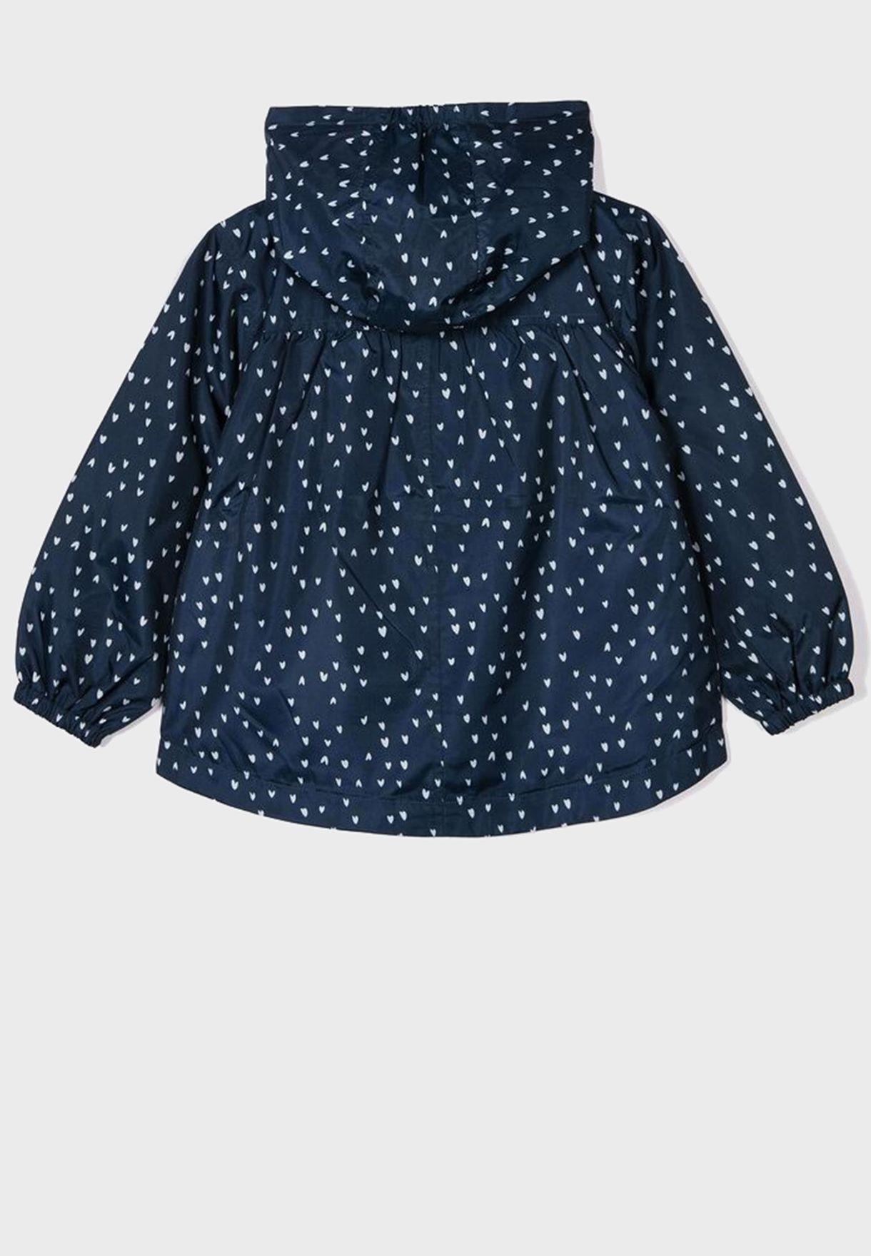 Kids Heart Print Hooded Jacket