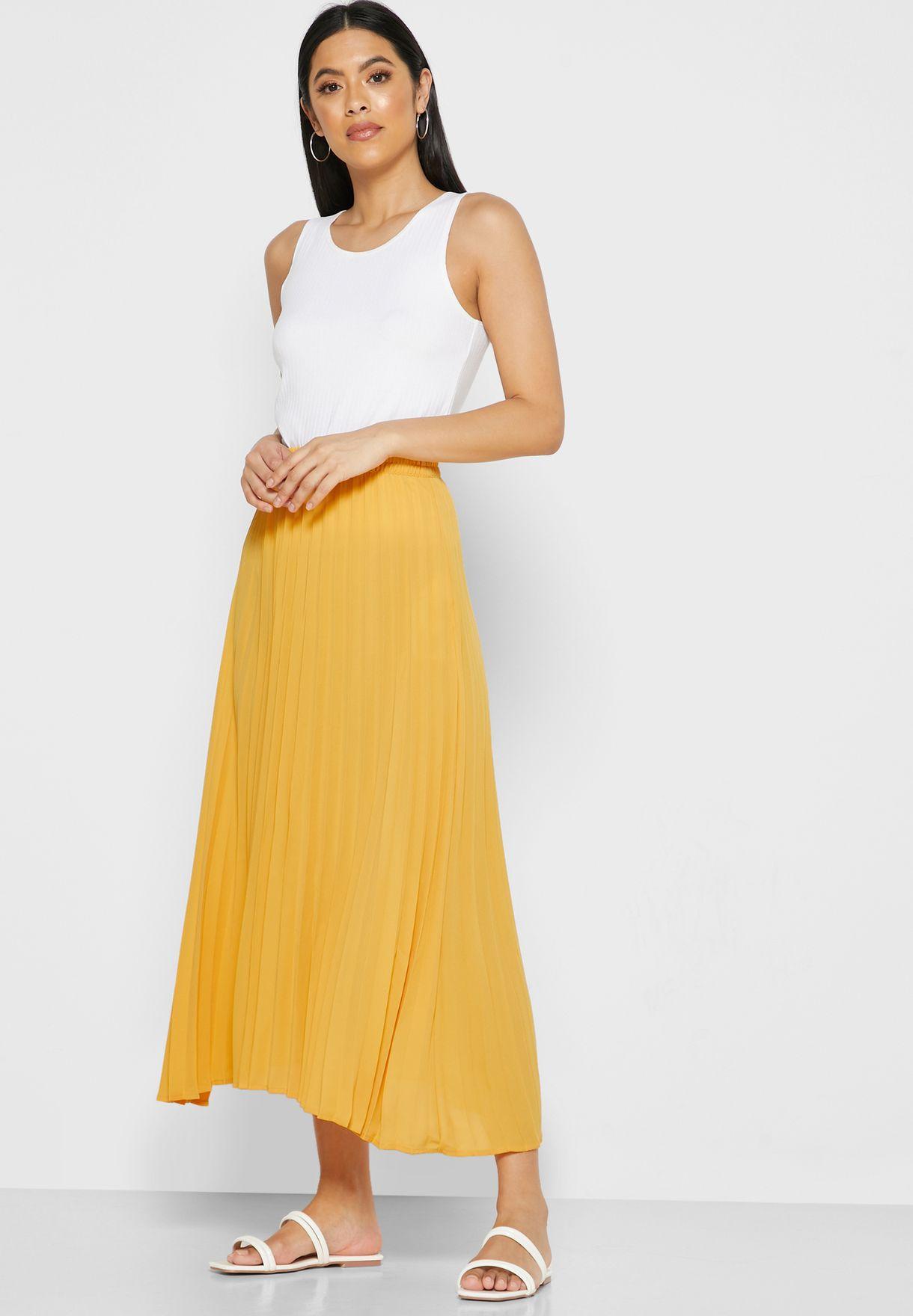 Shirred Waist Plisse Skirt