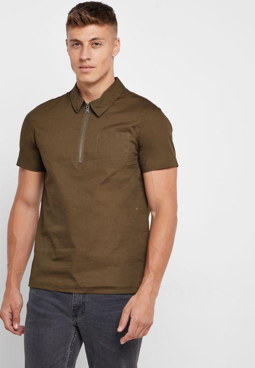 بلوزة بنمط قميص مع سحاب