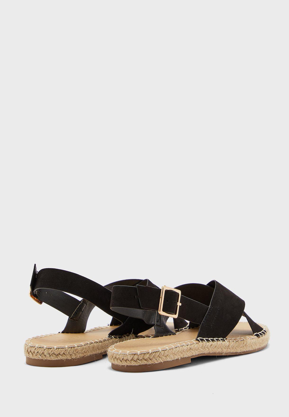 Cross Strap Espadrille Flat Sandals