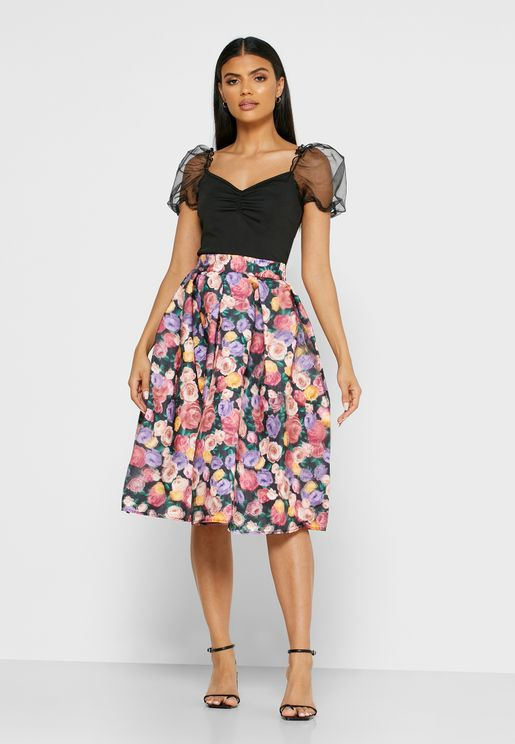 Floral Print Box Pleat Midi Skirt