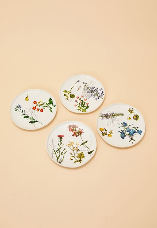 4 Pack Floral Plate Set