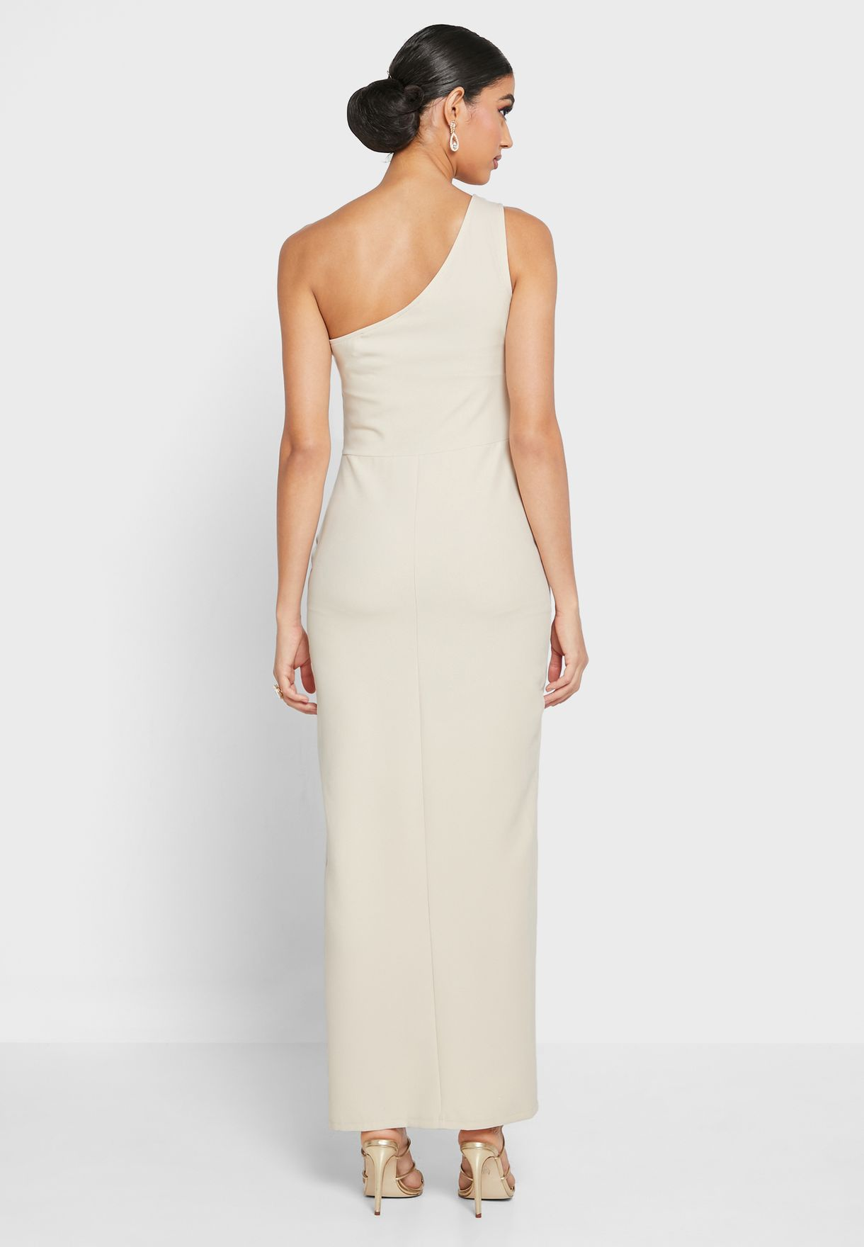 One Shoulder Side Ruffle Dress