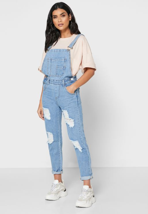 Ripped Denim Jumpsuit