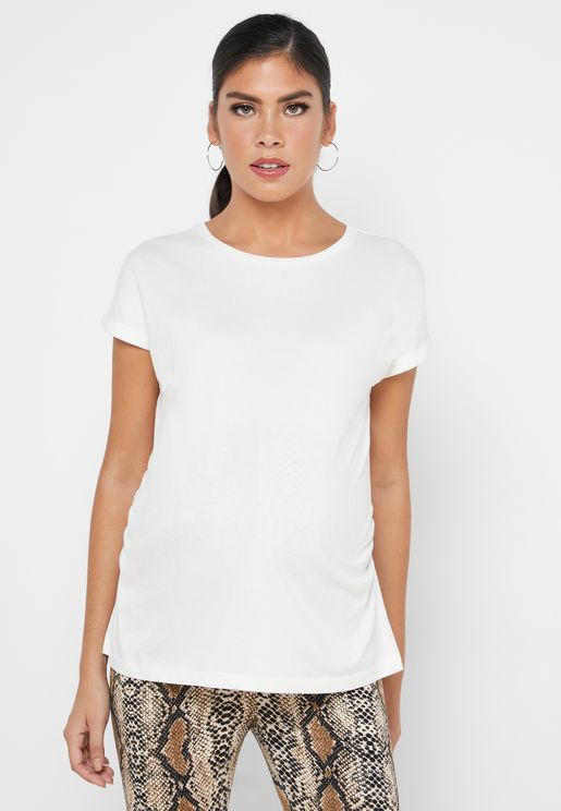 Ruched Detail Roll Sleeve Top