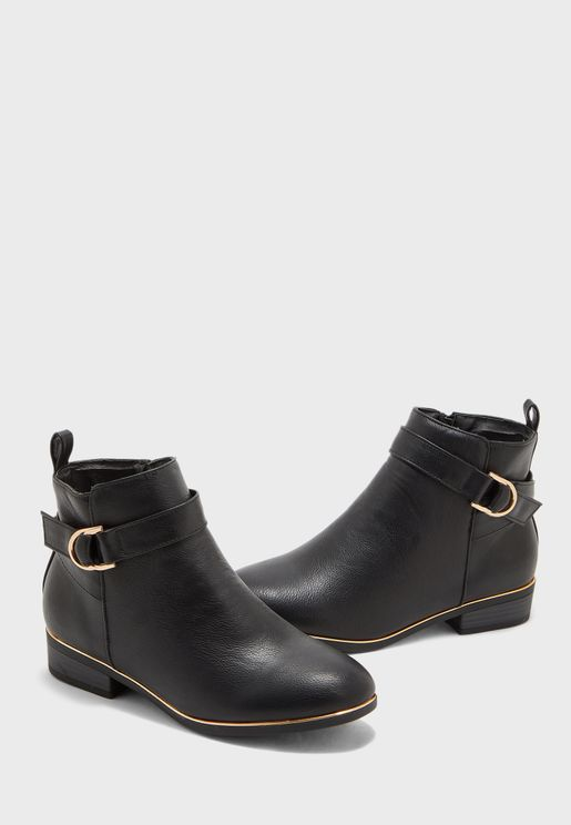 Wide Fit Daring Buckle Detail Ankle Boot