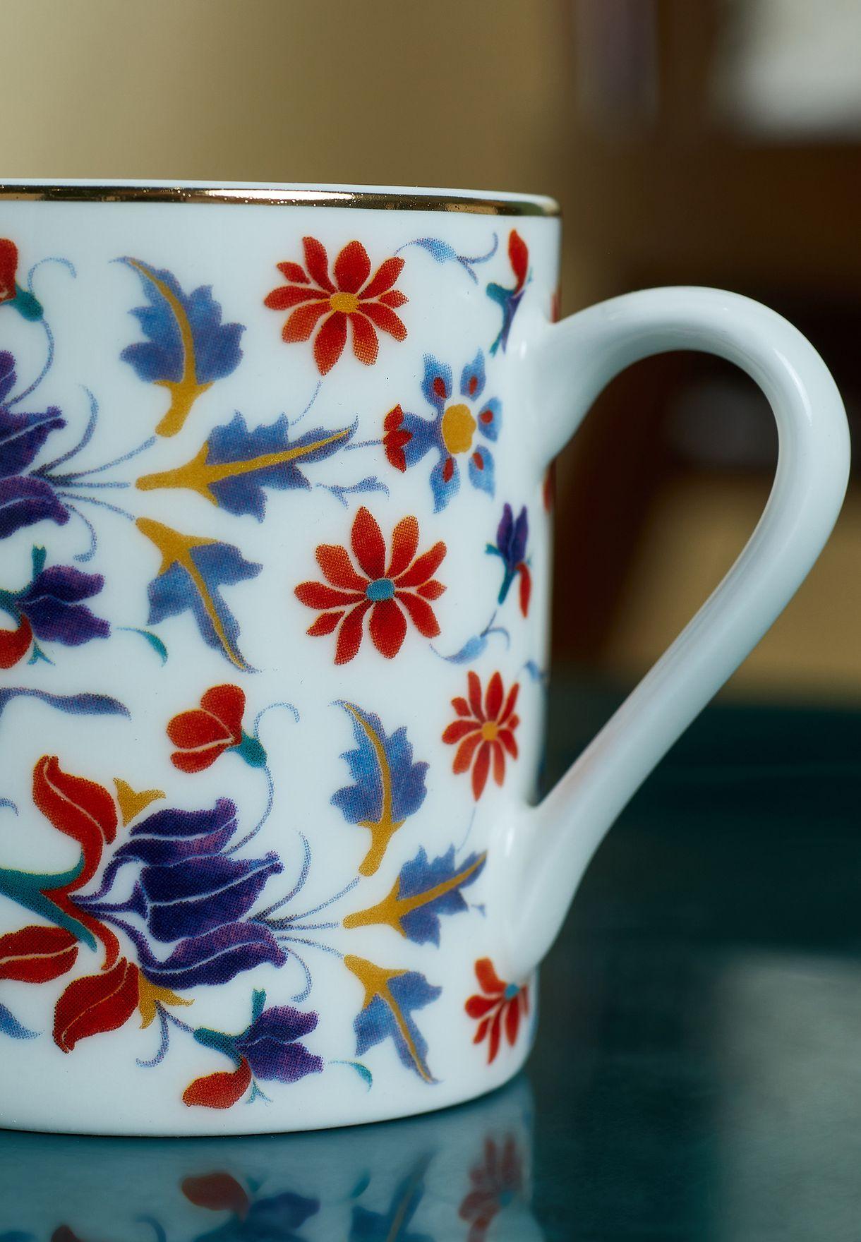 Set of 6 Floral Espresso Cup & Brass Saucer