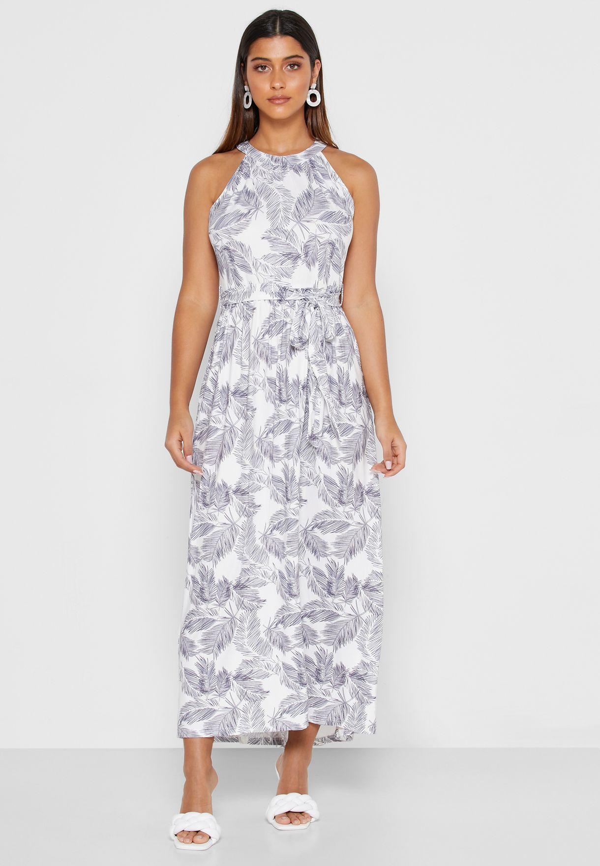 فستان ماكسي بياقة رسن وطبعات ازهار