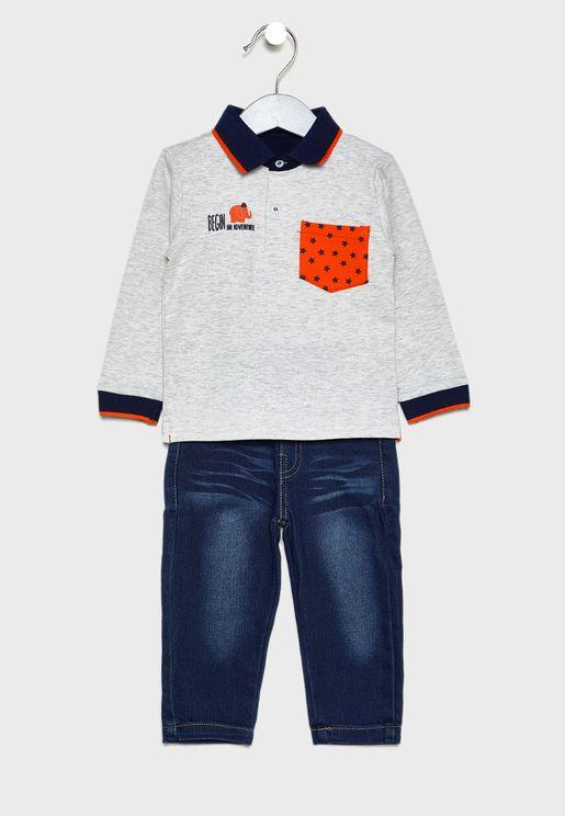 طقم اطفال (تيشيرت + بنطال جينز )