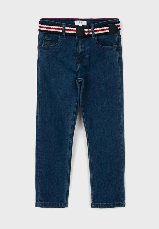 Kids Straight Belted Jeans
