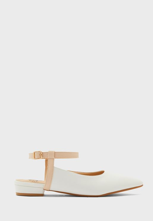 Coloured Ankle Strap Pointed Flat Shoe