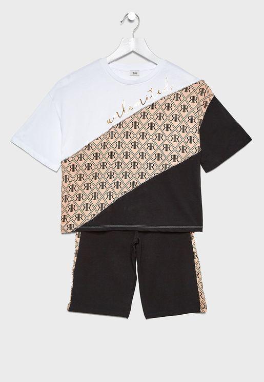 Kids Color Block T-Shirt + Shorts Set