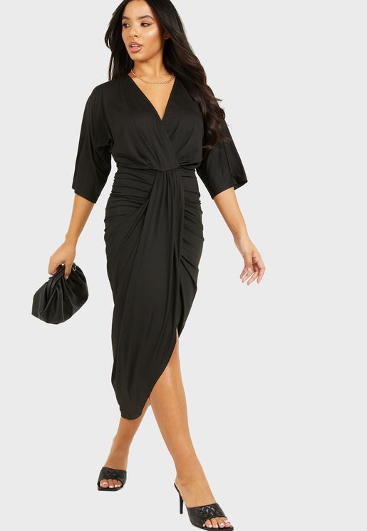 Batwing Wrap Front Ruched Midi Dress