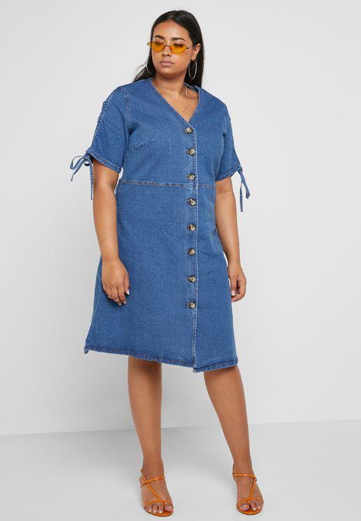 Button Front V-Neck Denim Dress