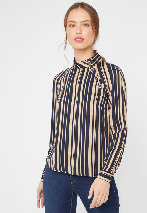 High Neck Button Detail Striped Top
