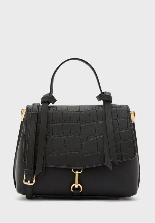Croc Handbag With Tassel Detail Handle