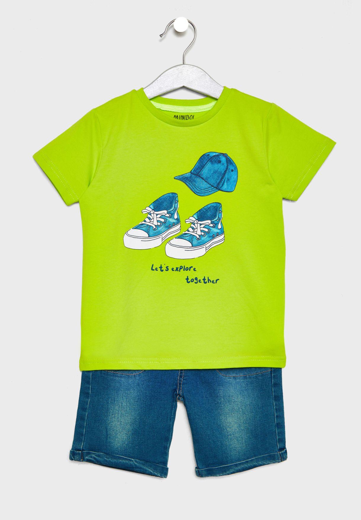 Little Graphic T-Shirt + Shorts Set