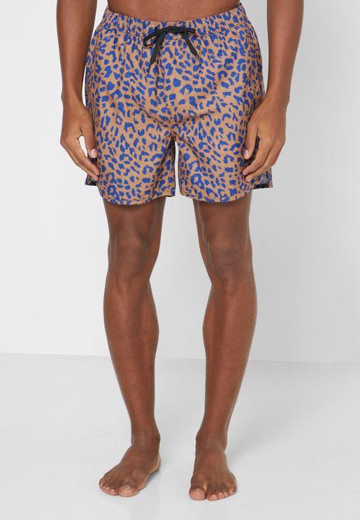 Leopard Print Swim Shorts