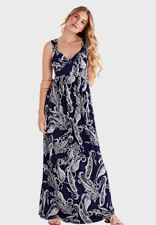 Sweetheart Neck Printed Shift Dress