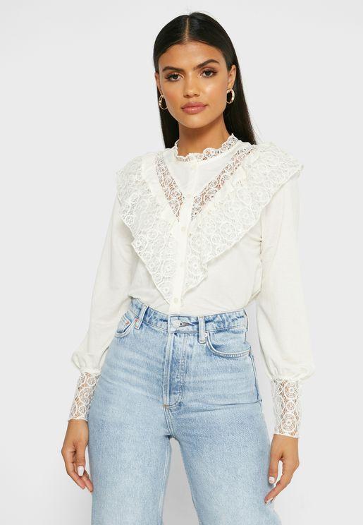 Lace Detail Ruffle Detail Shirt