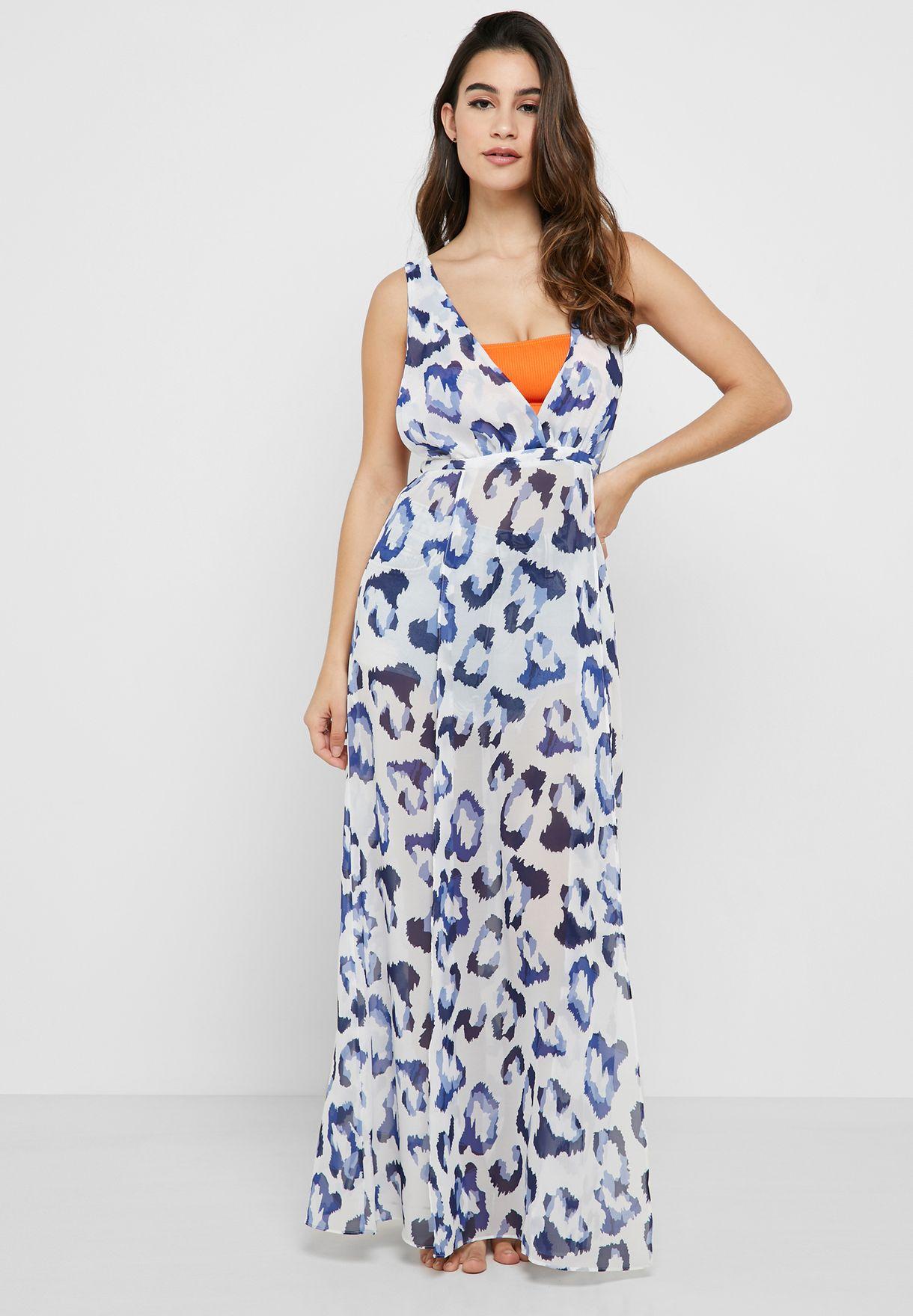 Leopard Print Front Slit Beach Dress
