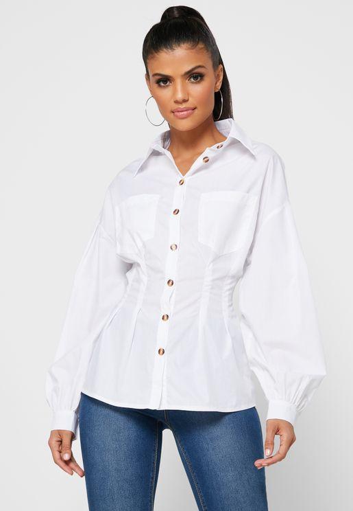 Corset Detail Oversized Shirt