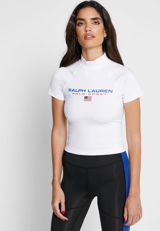 High Neck Cropped T-Shirt
