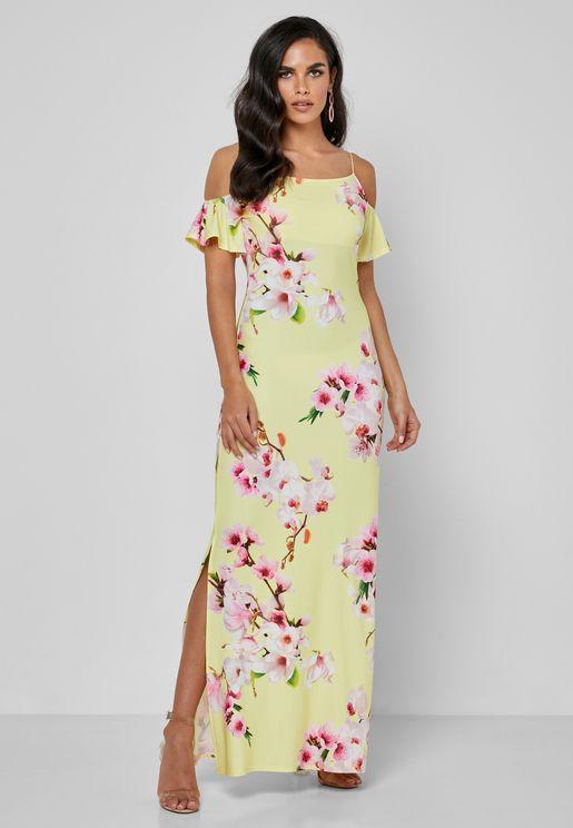فستان مزين بطبعات زهور