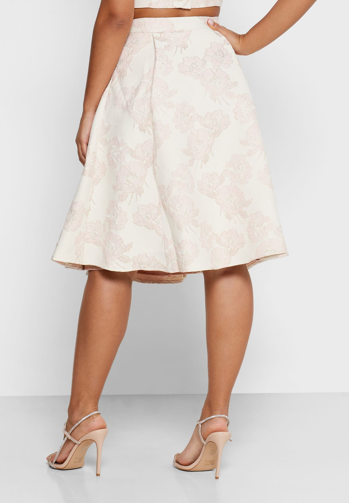 Pleated Detail Jacquard Prom Skirt
