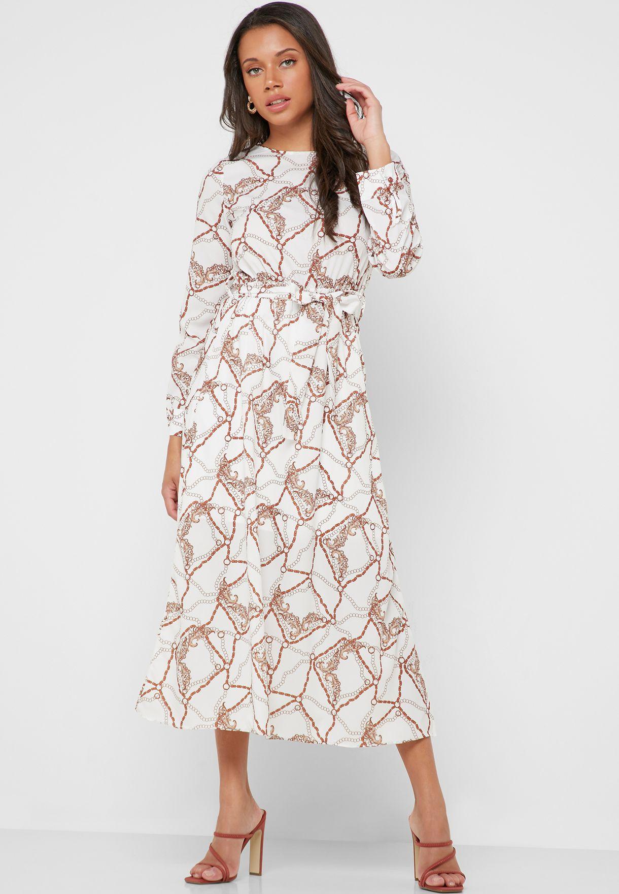 فستان مكسي مطبع