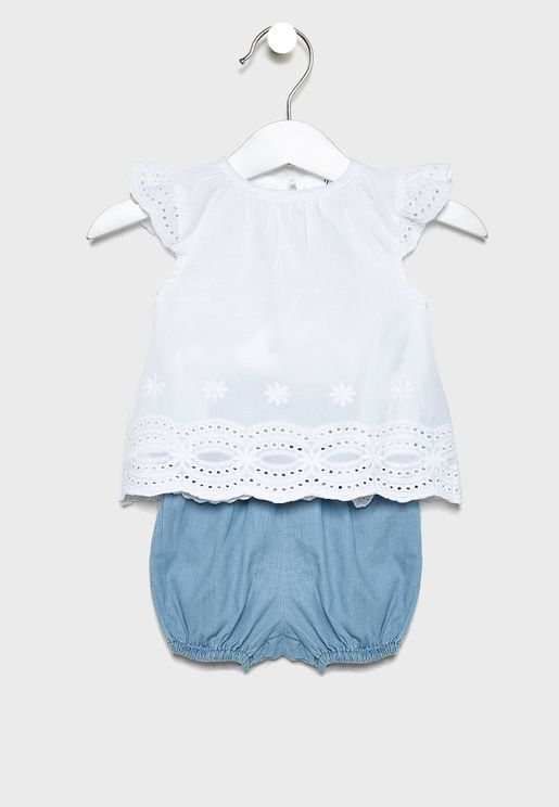 Infant Hem Ruffle Top + Pyjama Set