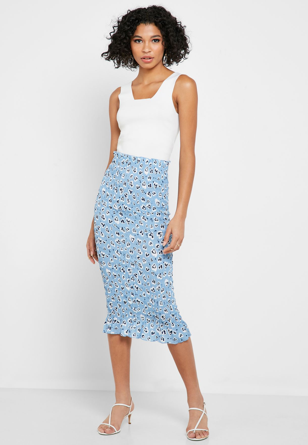 High Waist Printed Bodycon Skirt