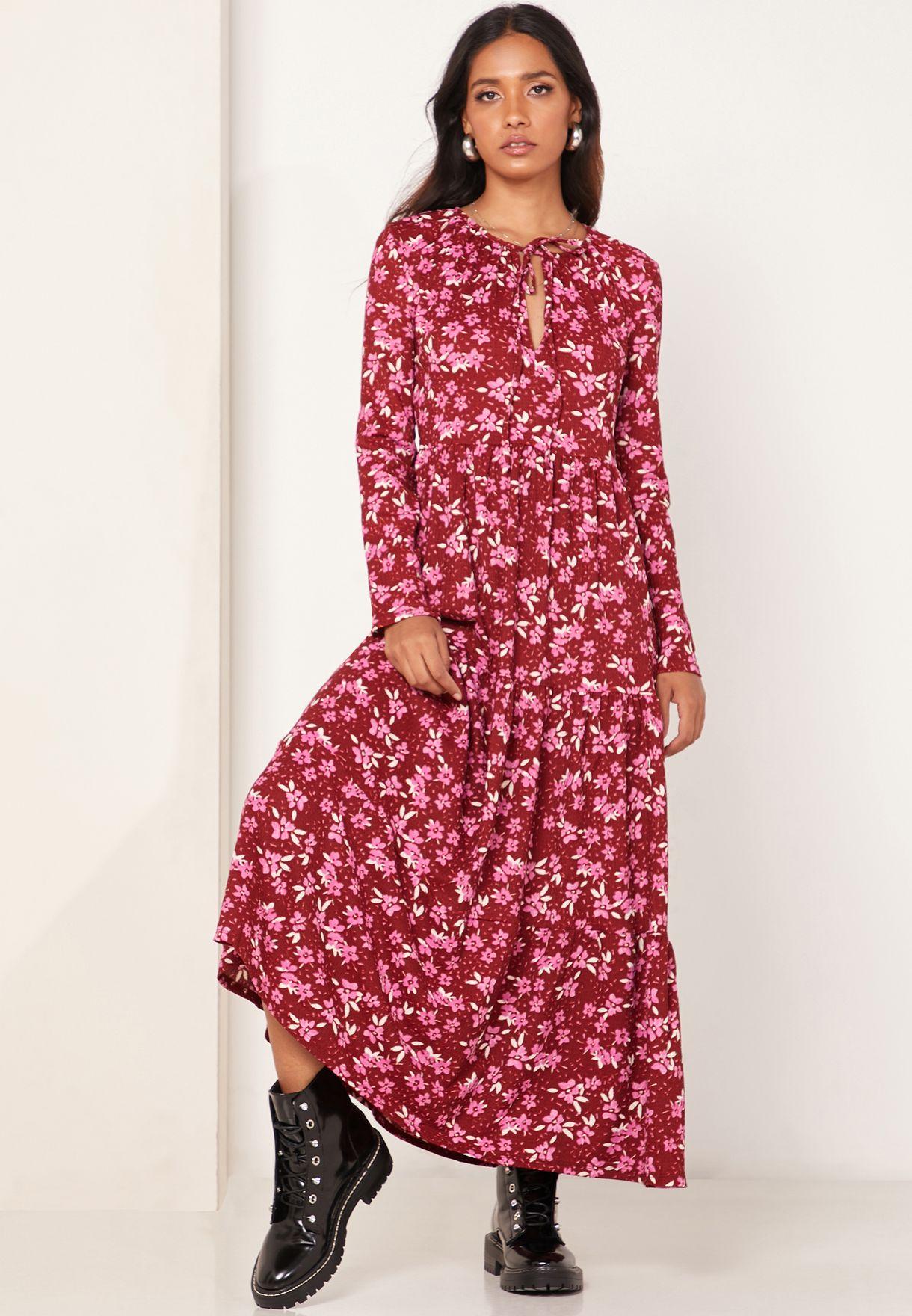 Tiers Floral Print Dress