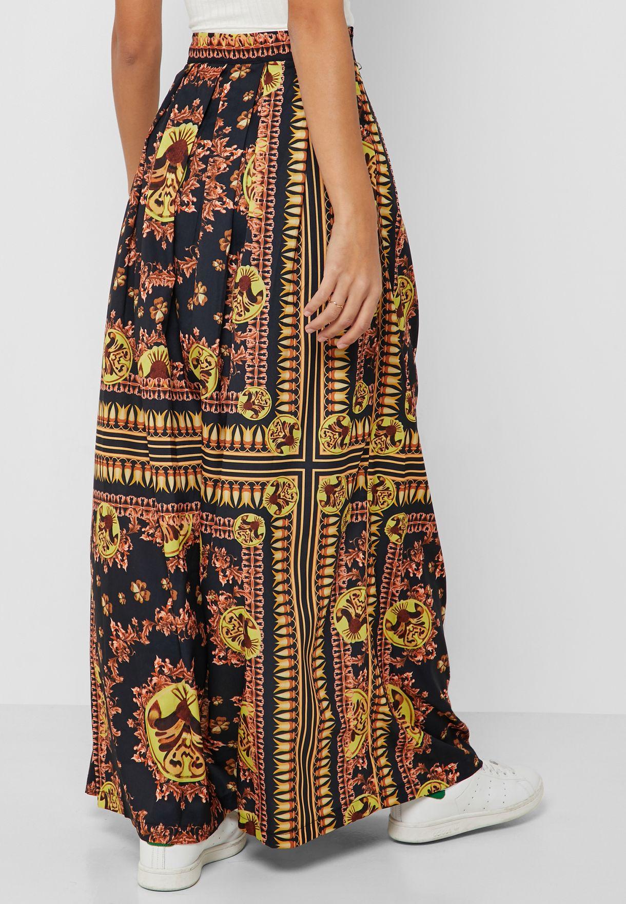 Baroque Print Maxi Skirt