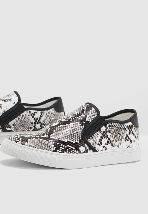 Snake Print Slip On Sneakers