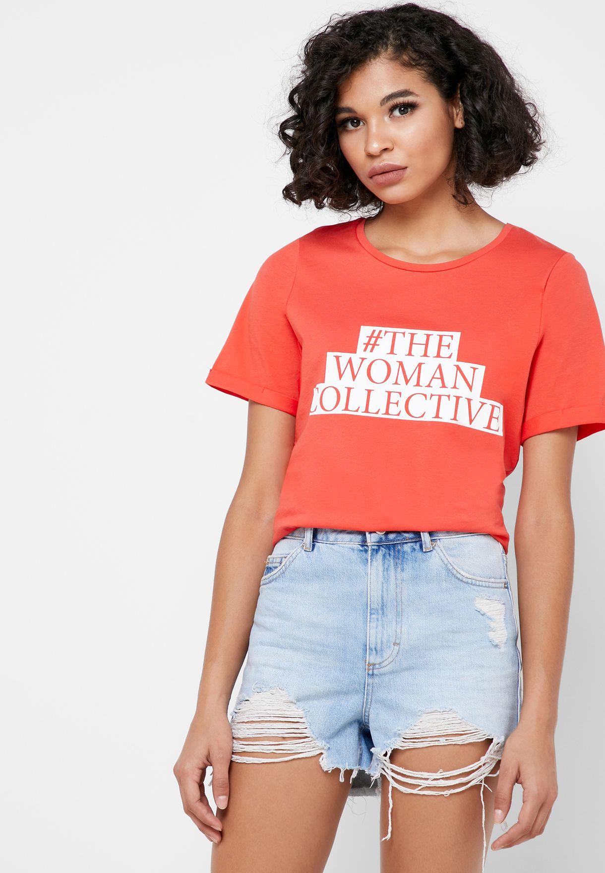 Crew Neck Slogan T-Shirt