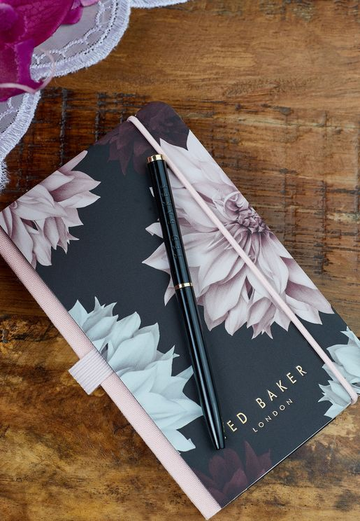 Mini Floral Notebook With  Pen