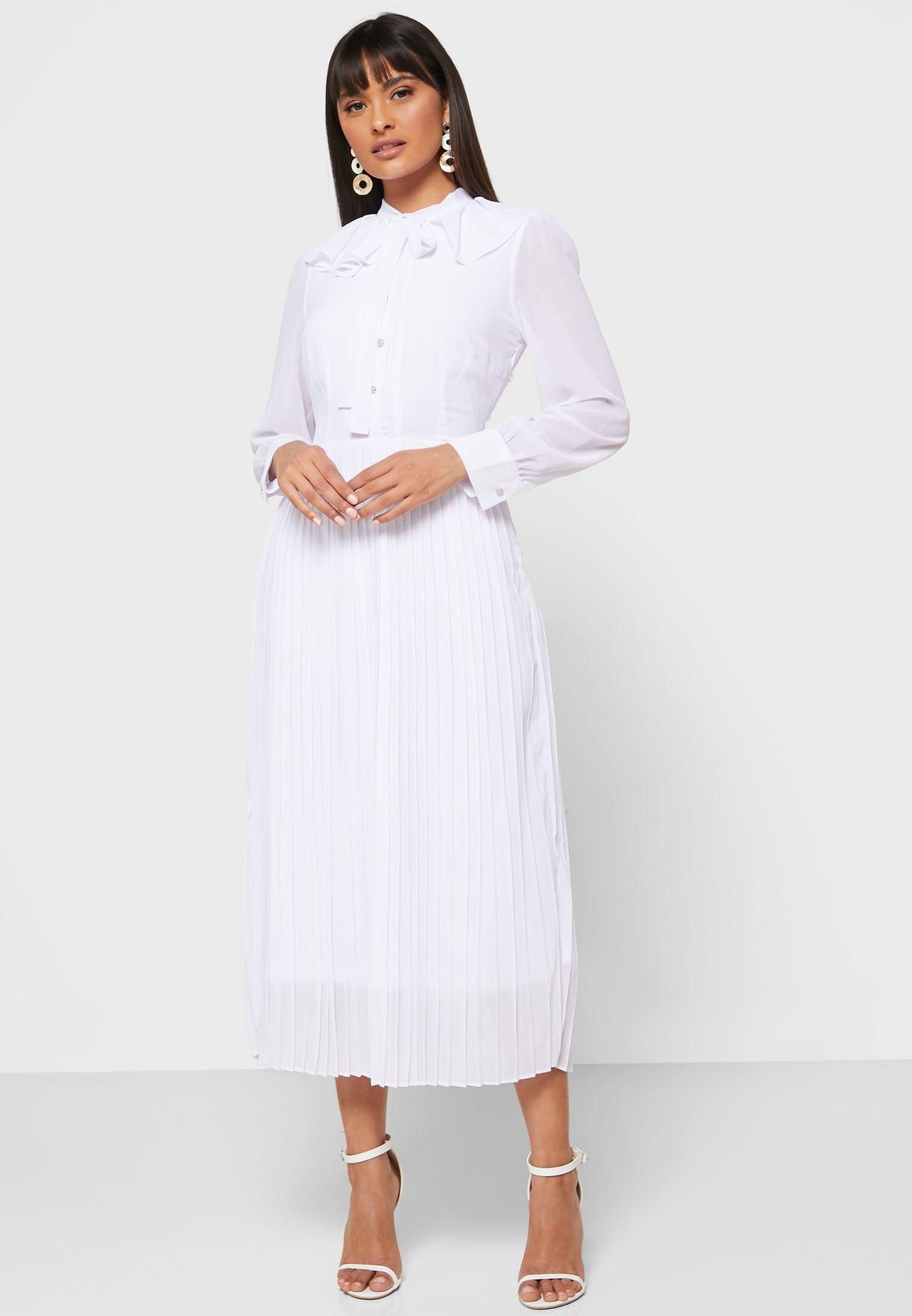 Pleated Skirt Tie Neck Shirt Midi Dress