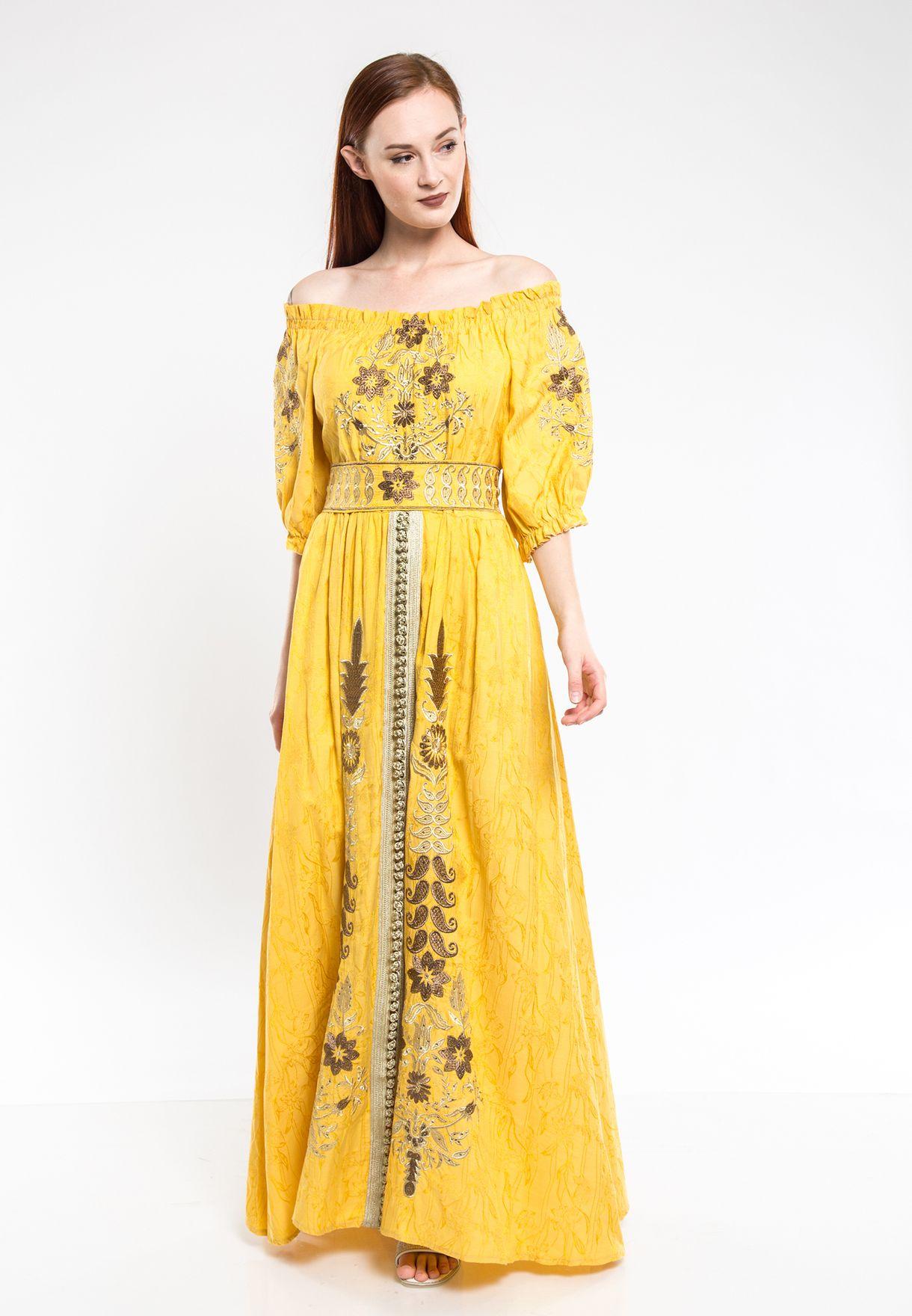 Puff Sleeve Embroidered Jalabiya