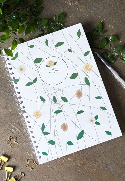 A4 Marble Floral Notebook