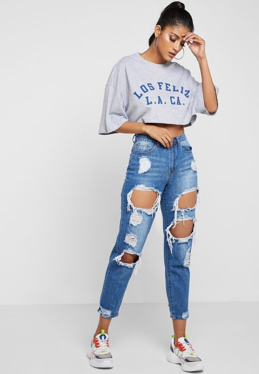 Riot High Rise Ripped Mom Jeans