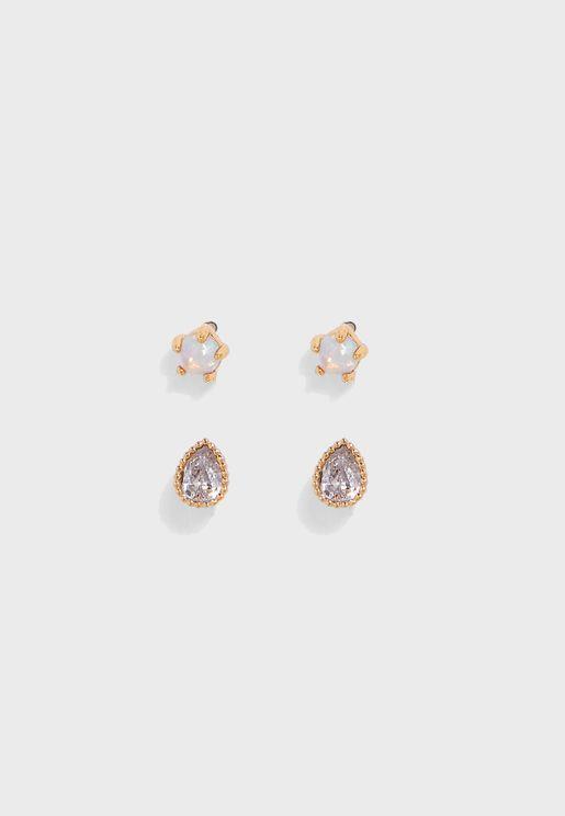 2 Pack Opal & Crystal Stud Earrings