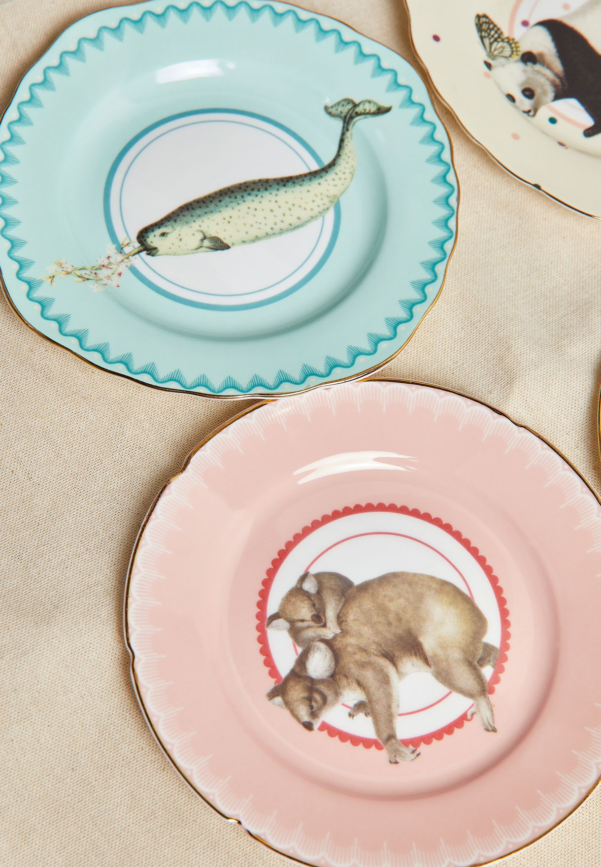 4 Pcs Animal Cake Plates Set