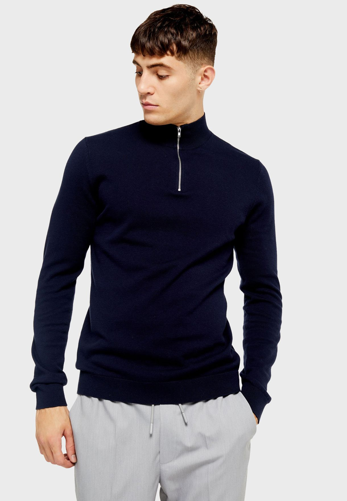 Turtle Neck Zip Detail Sweater