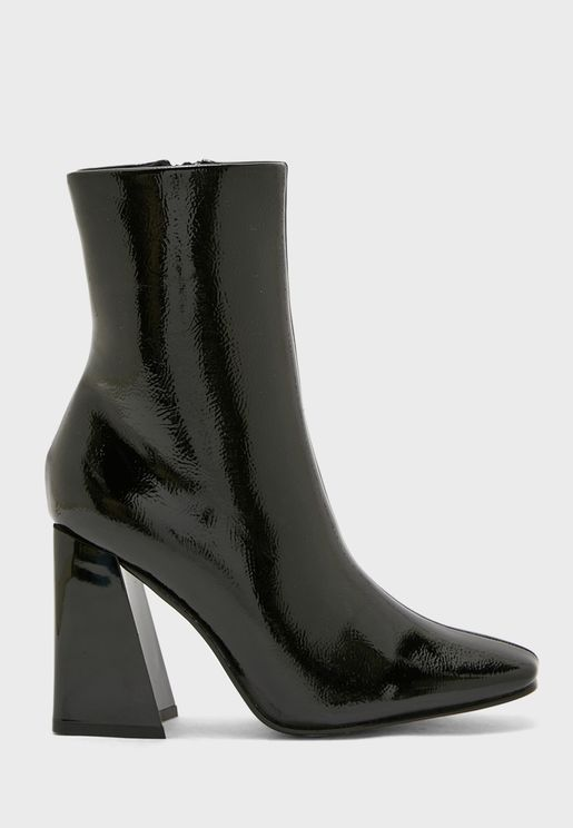 Patent Rounded Point Flared Heel Boot