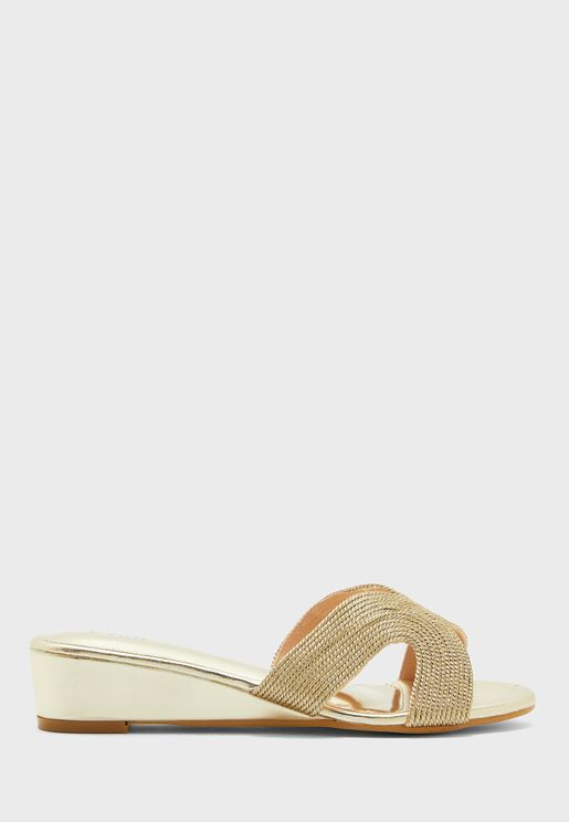 Cross Strap Wedge Sandal