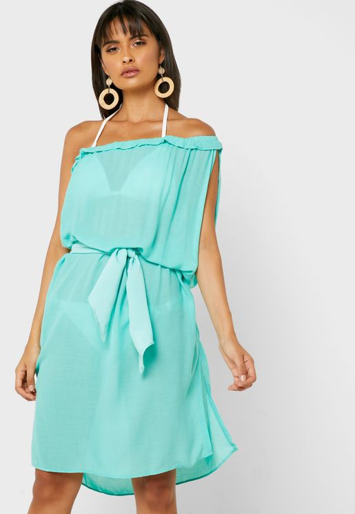 Tie Waist One Shoulder Dress