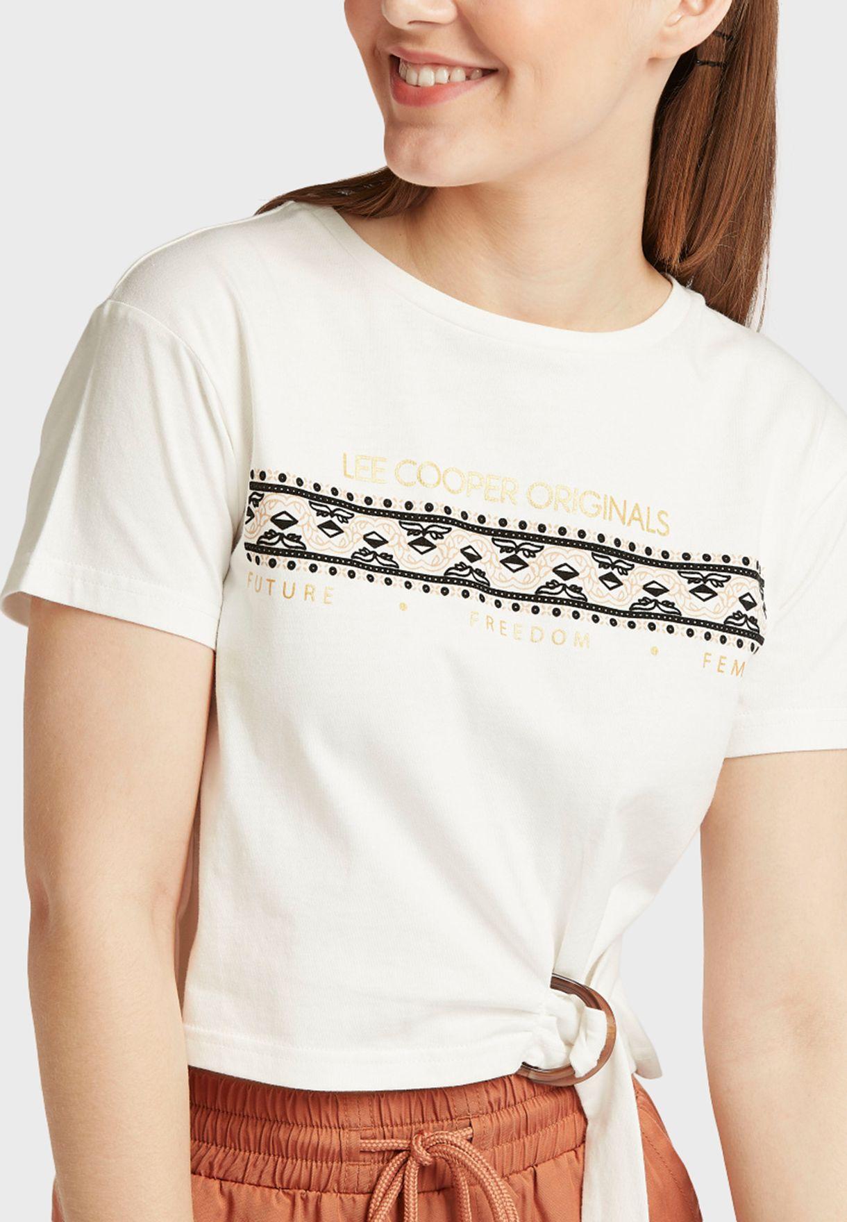 Front Tie Slogan T-Shirt