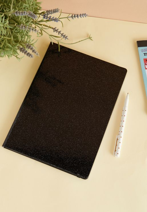 A4 Black Glitter Notebook